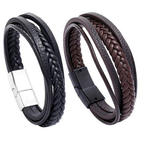 bracelet en cuir à boucle magnétique simple en cuir multicouche rétro NHPK265668's discount tags
