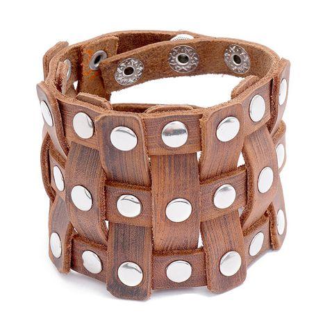 Bracelet en cuir de vachette ajustable simple pour homme NHPK265673's discount tags