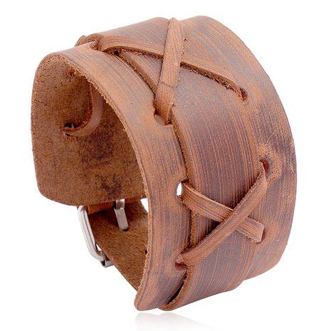 Nouvelle locomotive rétro en cuir de vachette pour homme avec bracelet en cuir large NHPK265675's discount tags