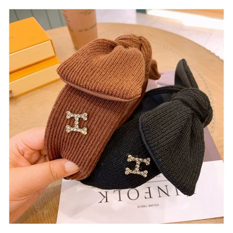 Korea  retro cashmere wool big bow  diamond wild wide-brimmed headband  NHHD265735's discount tags