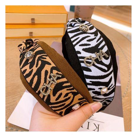 Corée rétro strass lettre ruban imprimé léopard moyen Twist Bowknot bandeau all-match NHHD265739's discount tags