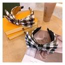 Korean retro cashmere woolen plaid large doublelayer bow knot headband  NHHD265741