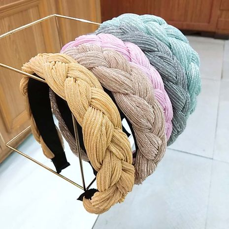 twist braid wide-brimmed hand-woven pure color bright silk wrinkle headband  NHUX265752's discount tags