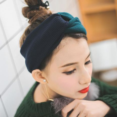 new wide-sided knitted cross  thickened woolen non-slip headband NHUX265754's discount tags