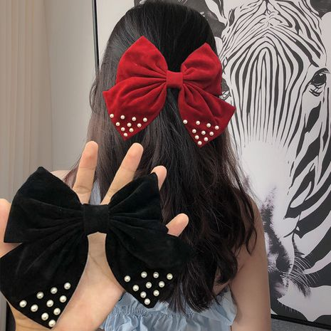 Korea   pearl big bow   hairpin  NHUX265761's discount tags