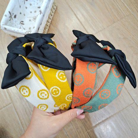 Korea's new  wool bowknot hairband knitted smiley rabbit ears headband  NHUX265767's discount tags