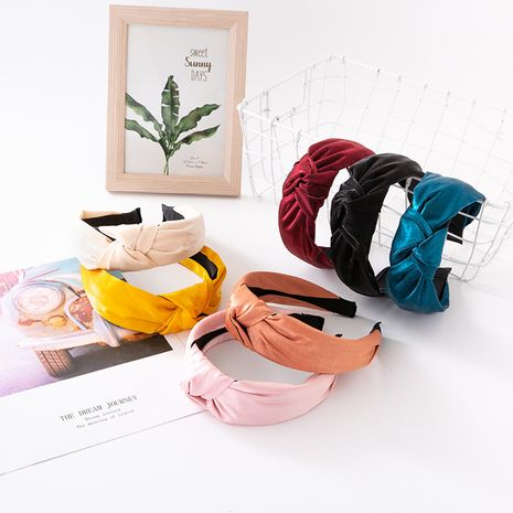 Korean  fabric  knotted hair band wide-sided silk satin solid color headband  NHUX265768's discount tags