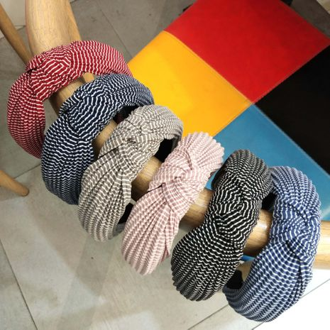 wrinkled striped knotted  wide edge fabric headband NHUX265777's discount tags