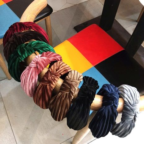 korean  wide-brim striped velvet knotted hair band NHUX265779's discount tags