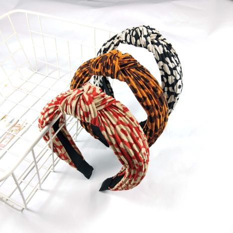 retro  leopard print folds knotted hair band NHUX265780's discount tags
