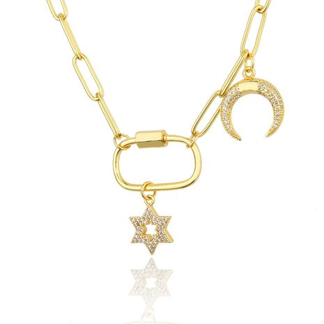 fashion  diamond-studded star moon necklace NHBP265791's discount tags