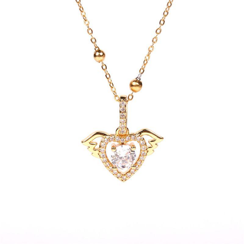 nouveau collier en acier inoxydable avec perles rondes en zircon coeur amour ange microincrust NHPY265810