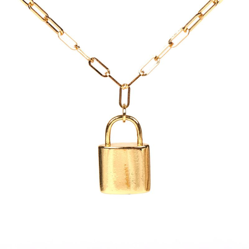 hot sale  fashion lock  hip hop punk style thick chain necklace NHPY265813