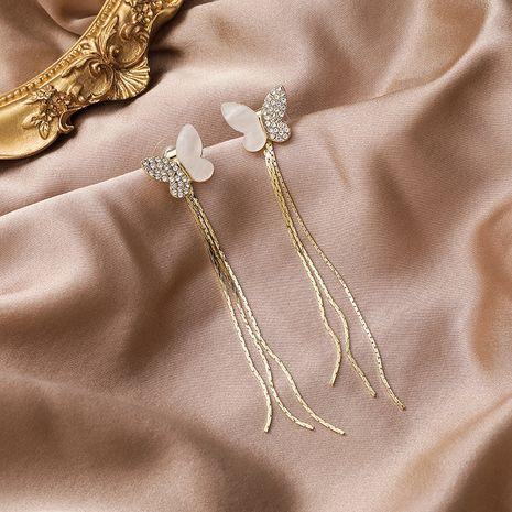 925 silver needle Korean long rhinestone shell butterfly earrings  NHMS265822's discount tags