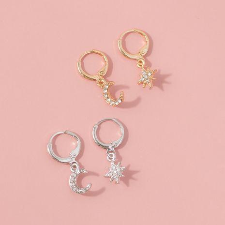 hot-selling fashion diamond star  moon earrings NHQC265863's discount tags