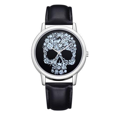 Reloj de cuarzo casual de concha plateada con correa de calavera de moda NHSS265916's discount tags