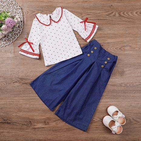 Children's Doll Collar Top Wide Leg Pants Set  NHLF265923's discount tags