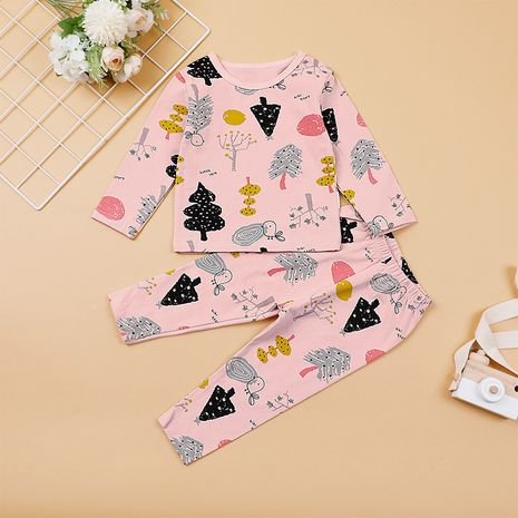 new children's casual home clothes two-piece kid cartoon printing suit  NHLF265924's discount tags