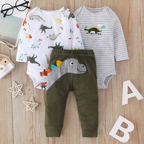 cartoon baby romper three-piece baby animal print one-piece romper trouser suit  NHLF265925's discount tags