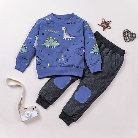 Korean cartoon pants children's casual two-piece boys sweater suit  NHLF265928's discount tags