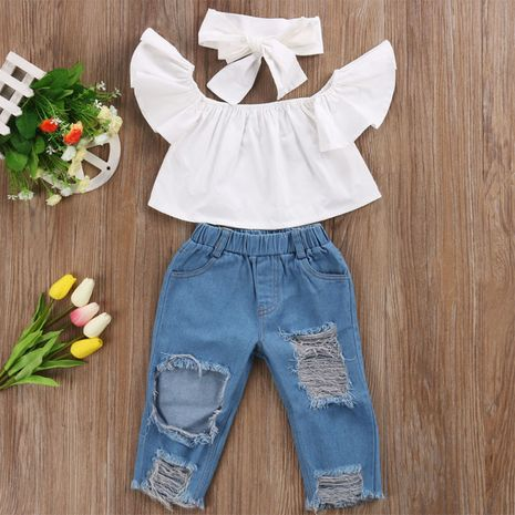 new fashion tops and ripped jeans two-piece wholesale  NHLF265945's discount tags