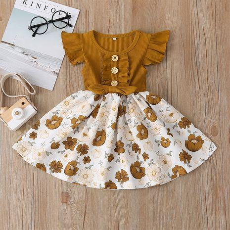 Moda nueva falda de niña falda de manga voladora falda floral al por mayor NHLF265946's discount tags