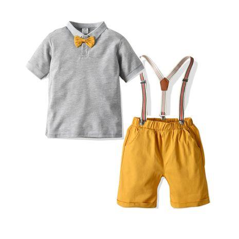 Fashion new Summer Boys POLO Shirt Bib Pants Two Bows Hot Sale NHLF265949's discount tags