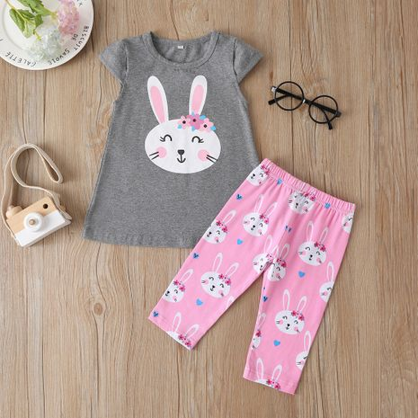 fashion  new girls' pants suit cute rabbit short-sleeved T-shirt trousers  wholesale NHLF265959's discount tags