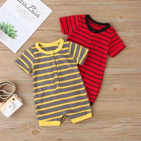sección delgada de manga corta recién nacido rayado pedo ropa bebé escalada ropa NHLF265975's discount tags