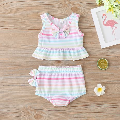New fashion  color stripe children's ruffled swimsuit wholesale NHLF265978's discount tags