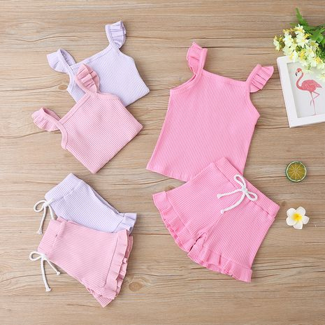 new  solid color fashion T-shirt short-sleeved two-piece children's clothing wholesale NHLF265983's discount tags