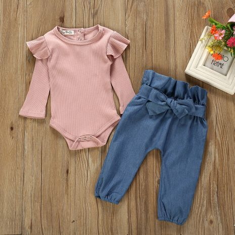 new fashion beautiful baby spring children's jeans romper two-piece sets wholesale NHLF265990's discount tags