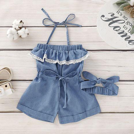 nuevos monos para niñas color sólido moda jeans para niños tirantes de encaje NHLF265993's discount tags