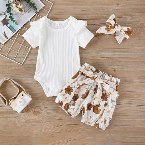 new  cotton  printing fashion baby romper shorts two-piece set wholesale NHLF265994's discount tags