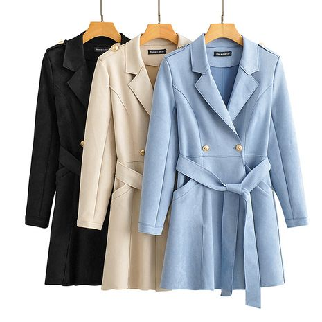 new lapel long sleeve with belt mid-length windbreaker jacket for women NHAM265998's discount tags