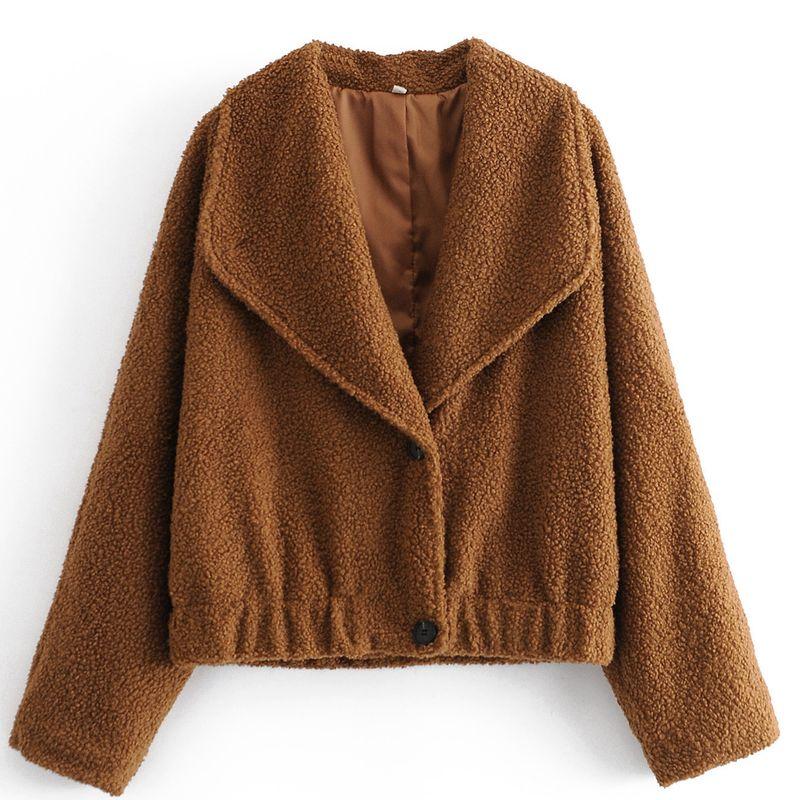 nouvelle veste rtro ample  manches longues en fausse fourrure en peluche NHAM266000