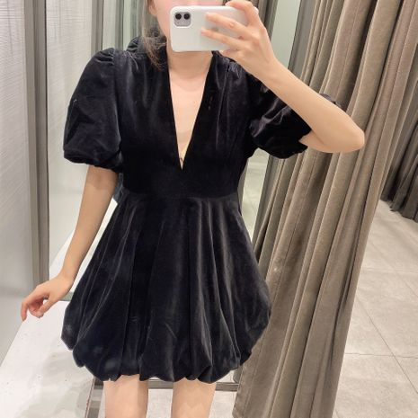 new  velvet mini v-neck puff sleeve dress for women NHAM266002's discount tags