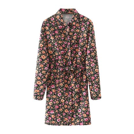 new lace-up waist shirt-style floral print long-sleeved dress  NHAM266012's discount tags