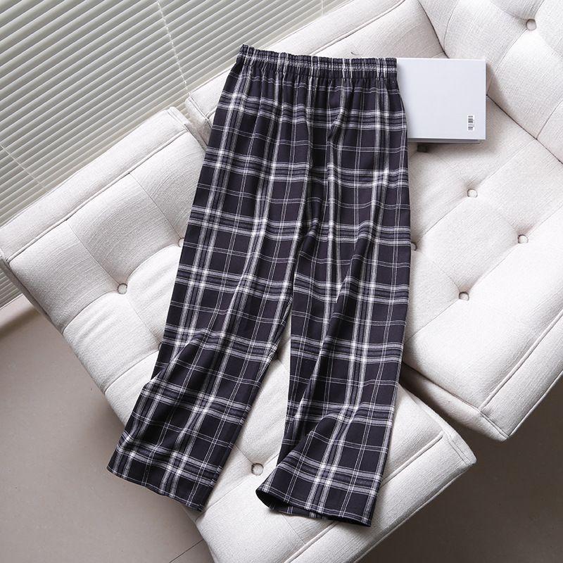 new Plaid Elastic Waist Wide Leg Women's Casual Pants  NHAM266048