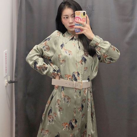 fashion  belt printing long-sleeved shirt dress  NHAM266052's discount tags