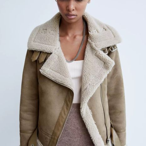 fur one suede thickened jacket short locomotive lamb hair jacket  NHAM266059's discount tags