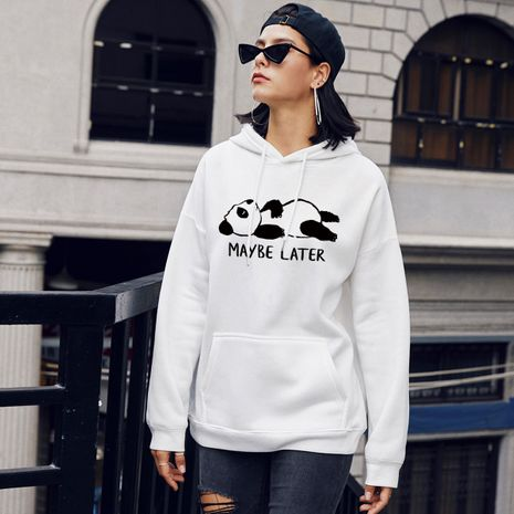 Fashion new winter women's casual panda hooded sweater NHSN266079's discount tags
