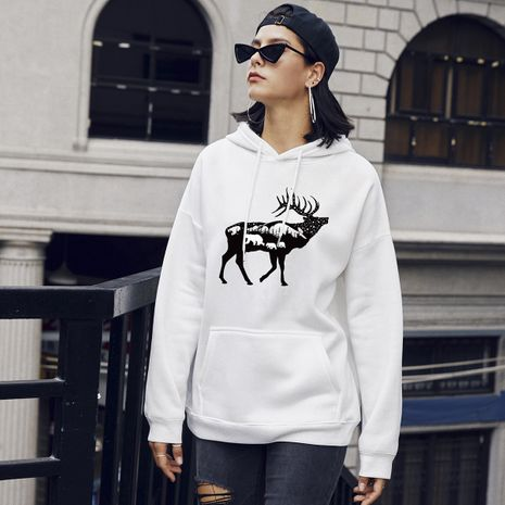 new women's fashion deer print casual hooded sweater NHSN266085's discount tags