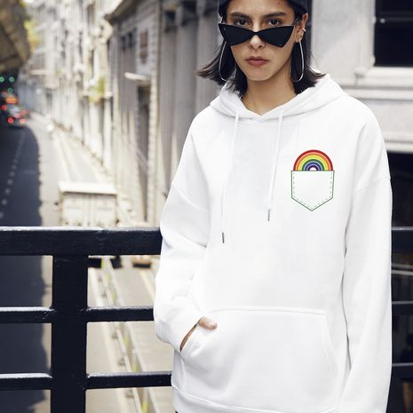 women's fashion new pocket rainbow casual hooded sweater NHSN266100's discount tags