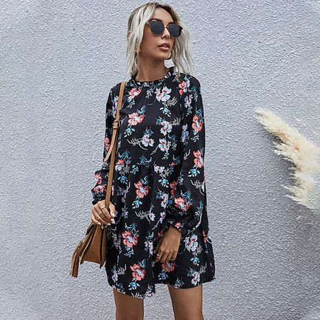 Black bottom printed floral small collar fashion casual high waist ladies long-sleeved  dress NHDF266118's discount tags