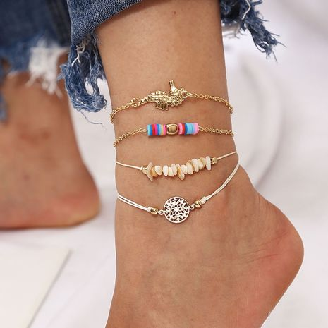 Bohemian woven seahorse multilayer gravel soft ceramic beaded set  anklet  NHLA266314's discount tags