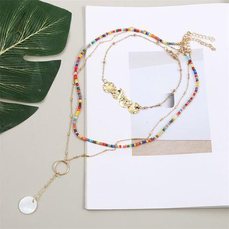 Collier multicouche coquille de perles de riz tissé bohème NHLA266315's discount tags