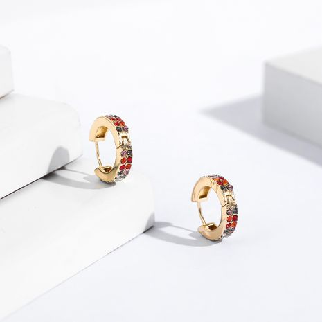 fashion round exaggerated C-shaped colorful double row diamond copper earrings NHLL266422's discount tags