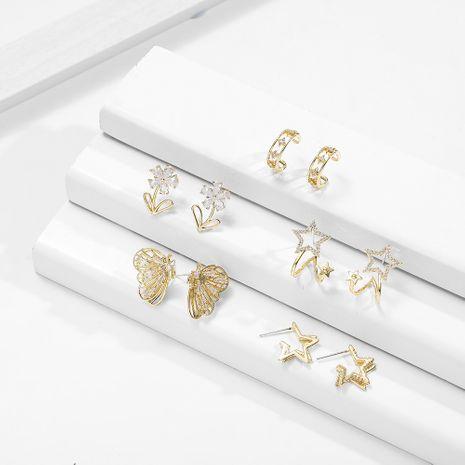 Boucles d'oreilles fleur rondes en cristal de zircon NHLL266420's discount tags