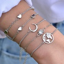 multilayer simple goldplated heartshaped moon bracelet set NHOT266441